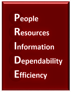 P.R.I.D.E. People, Resources, Information, Dependability, Ethics